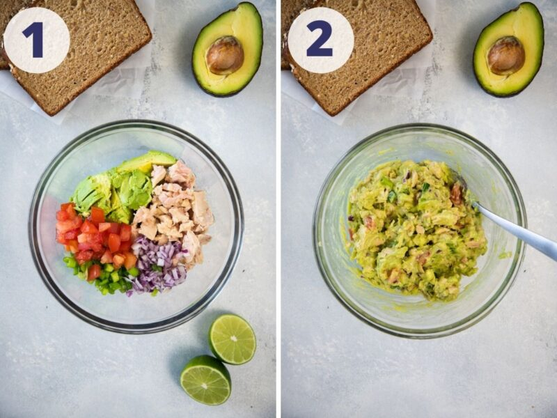 tuna avocado salad on a bowl for tostadas