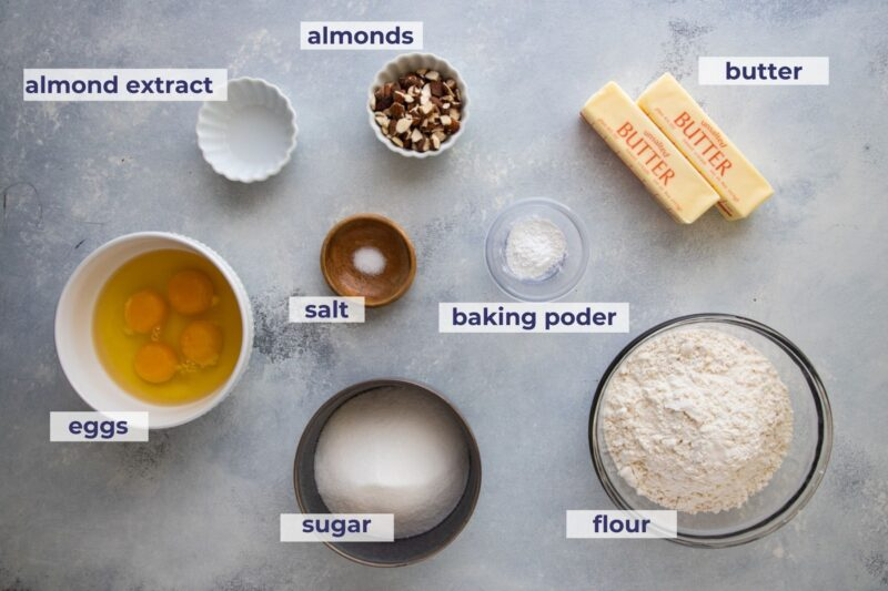almond cupcakes ingredients placed on a board