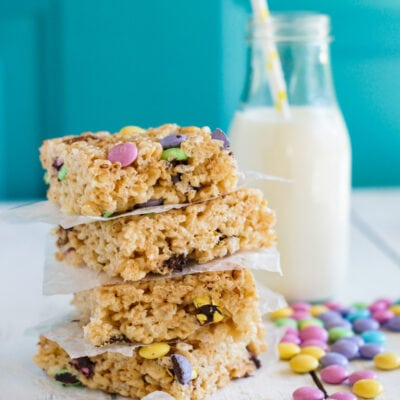 Stacked M&M rice krispies squares ready to eat