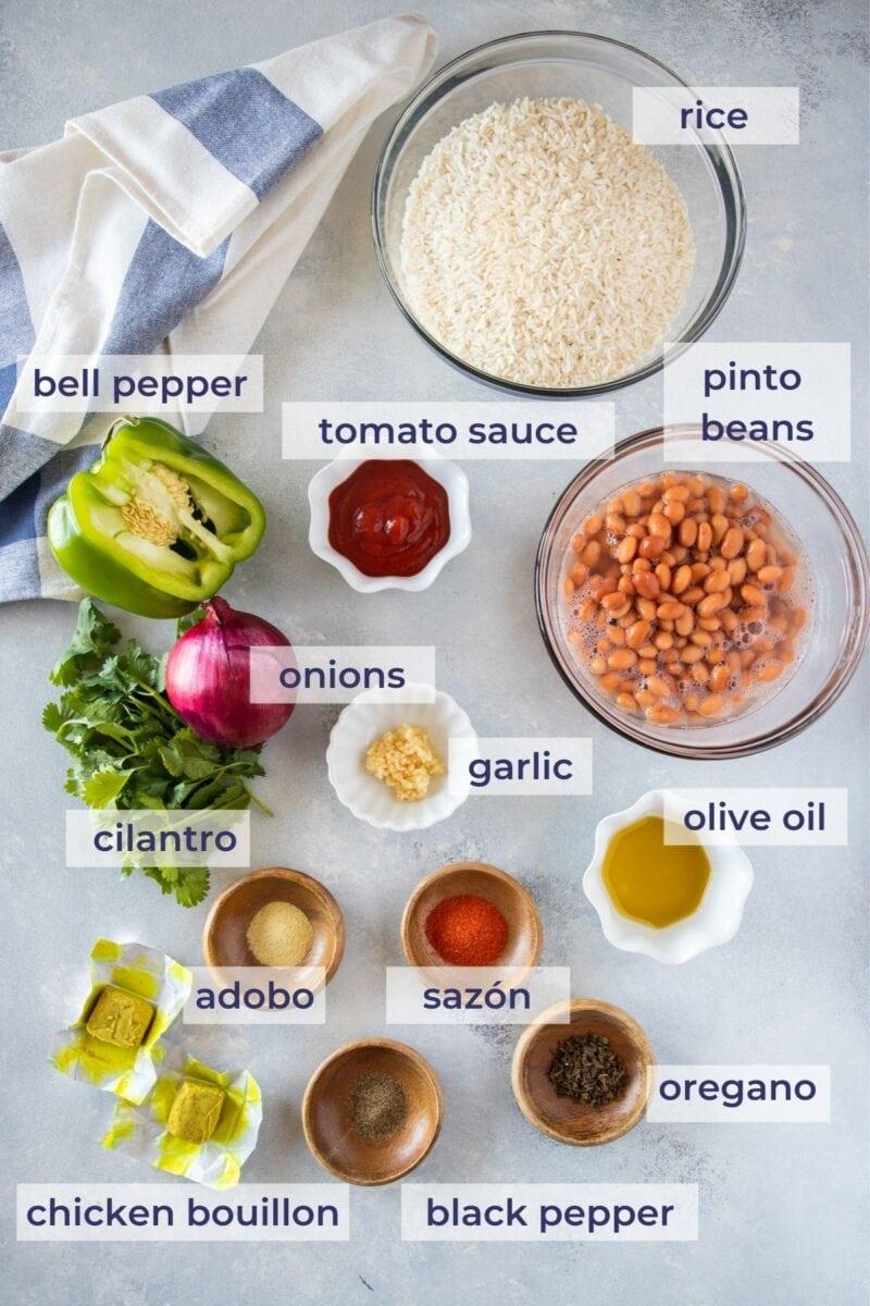 Moro de Habichuelas Ingredients on a board
