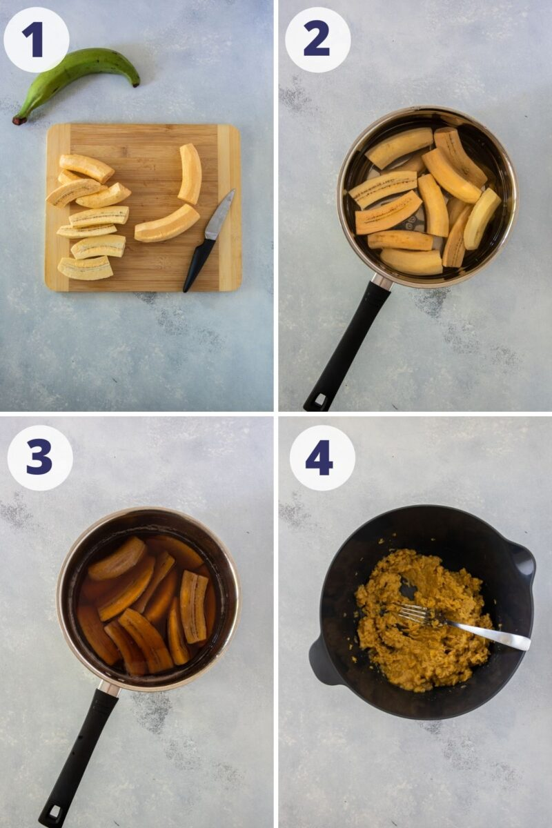 Four images showing the steps for preparing the plantains