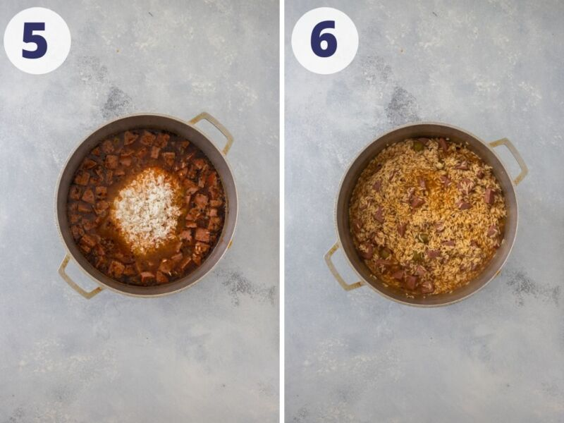 two images of rice cooking in a caldero