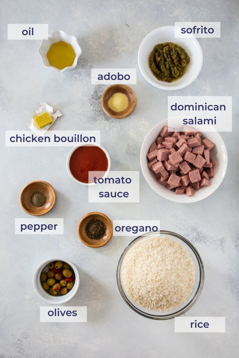Locrio de Salami Ingredients