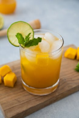 Mango Mojito in a clear glass ready to drink