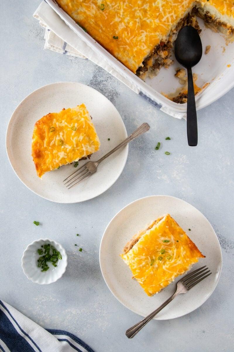 two slices of pastelon de papa ready to eat