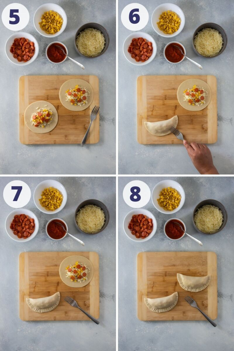four images of assembling the empanadas with pepperoni and sealing the empanadas