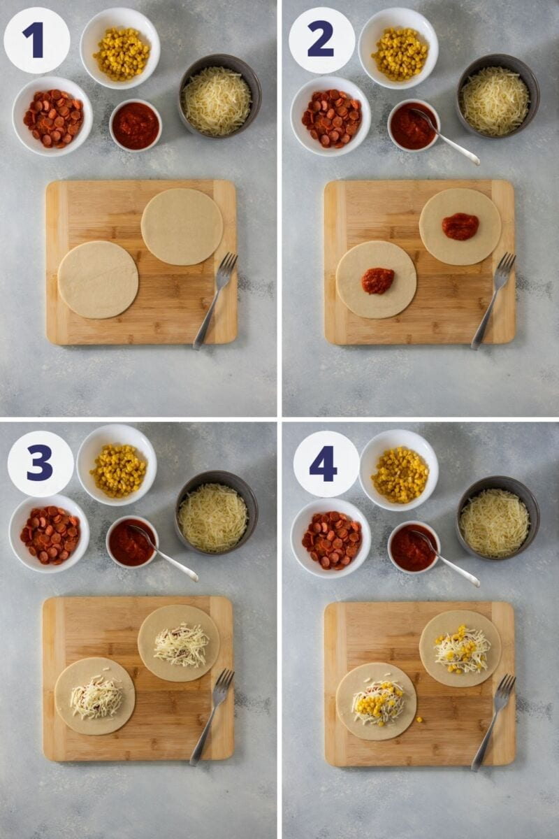 four images of assembling the empanadas with sauce cheese and corn