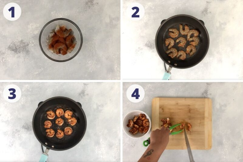 four images showing how to cook the shrimp