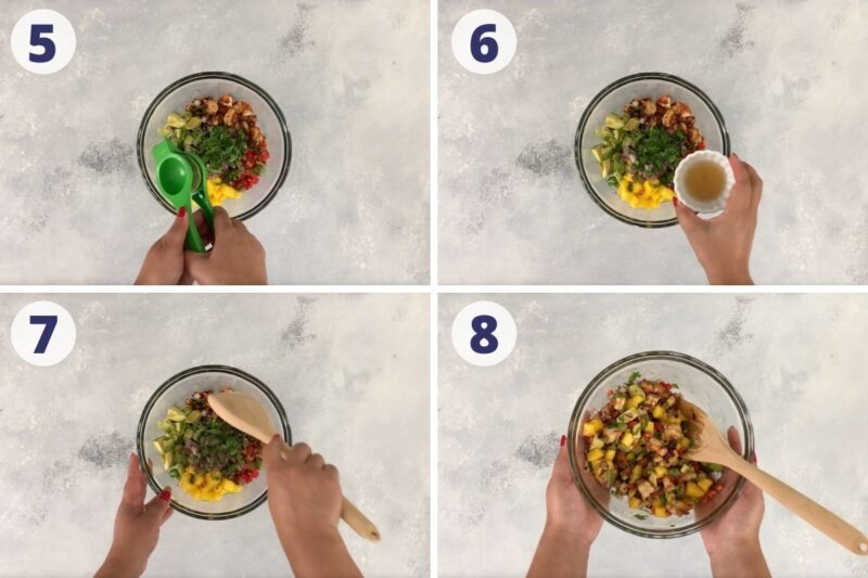 four images showing the process of mixing the salad ingredients