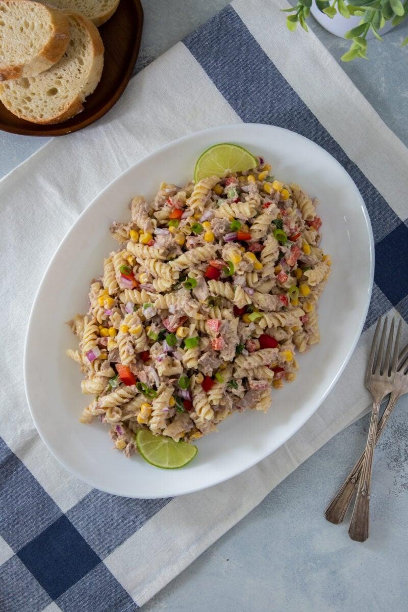 Tuna pasta salad served in a white platter