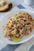 Tuna pasta salad in a platter