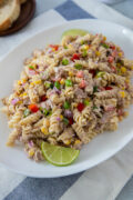 close up of Tuna pasta salad in a platter