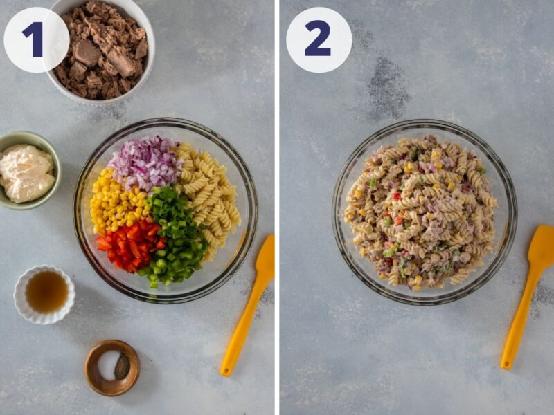 two images of tuna pasta salad being prepared