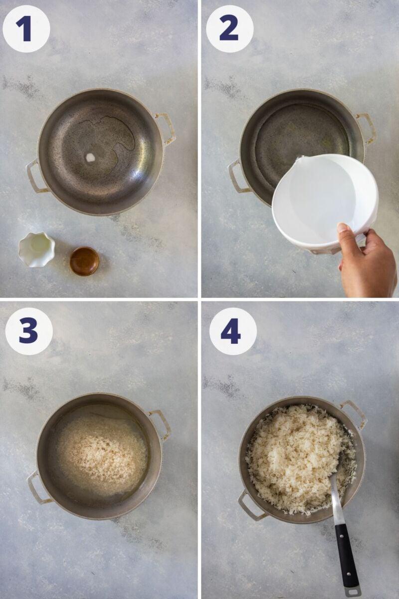 Cuatro fotos paso a paso para mostrar cómo preparar la receta.
