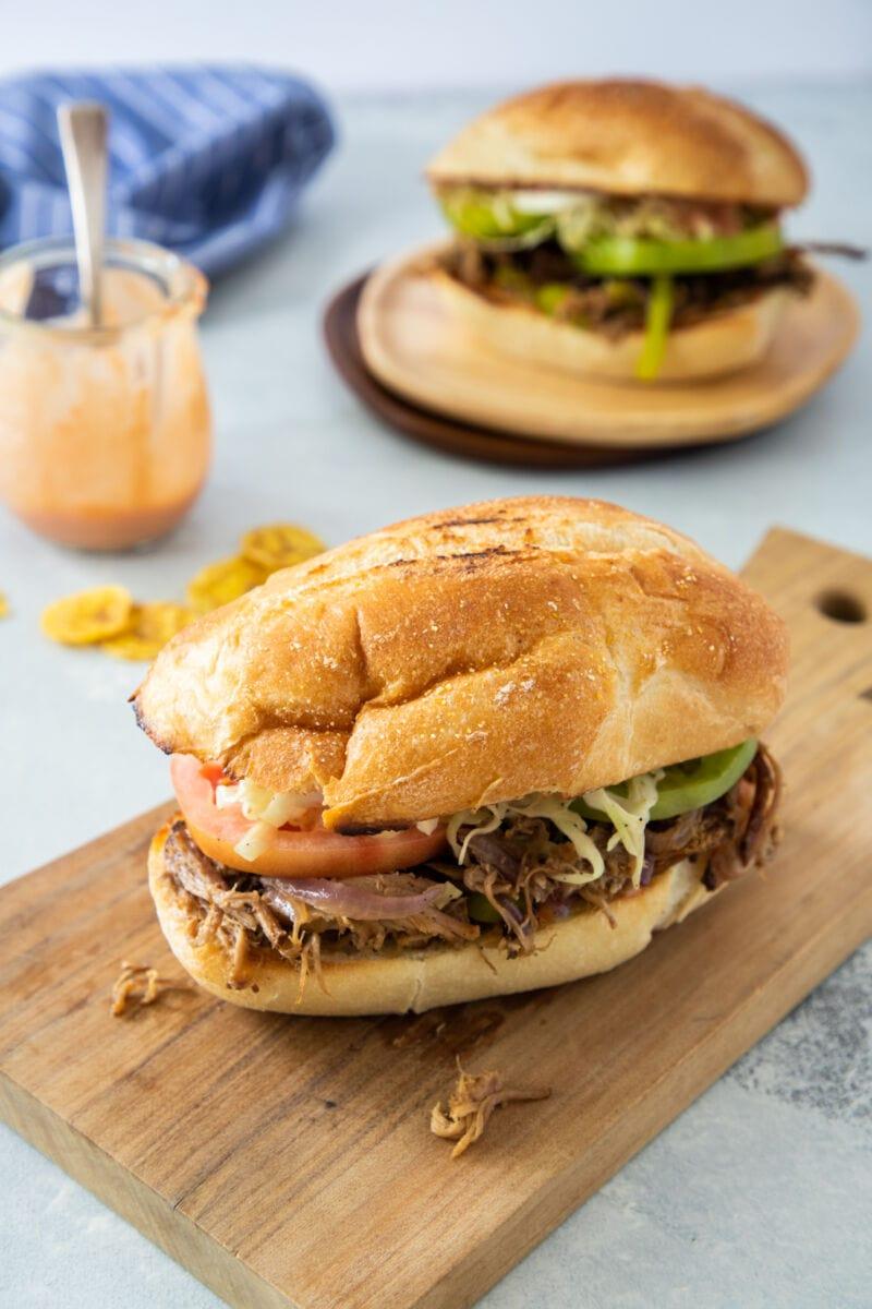 Two Sandwich de Pierna ready to eat.