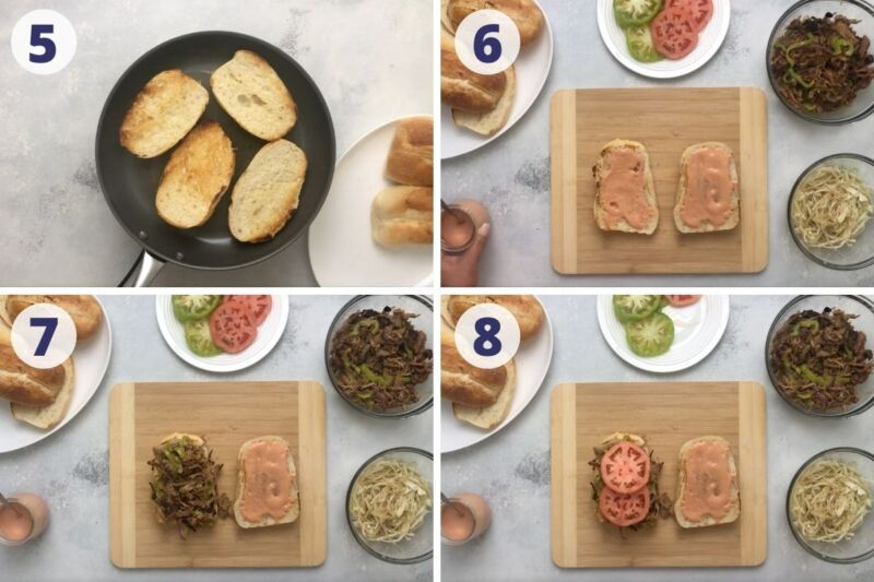 four images of step by step to assemble the sandwich