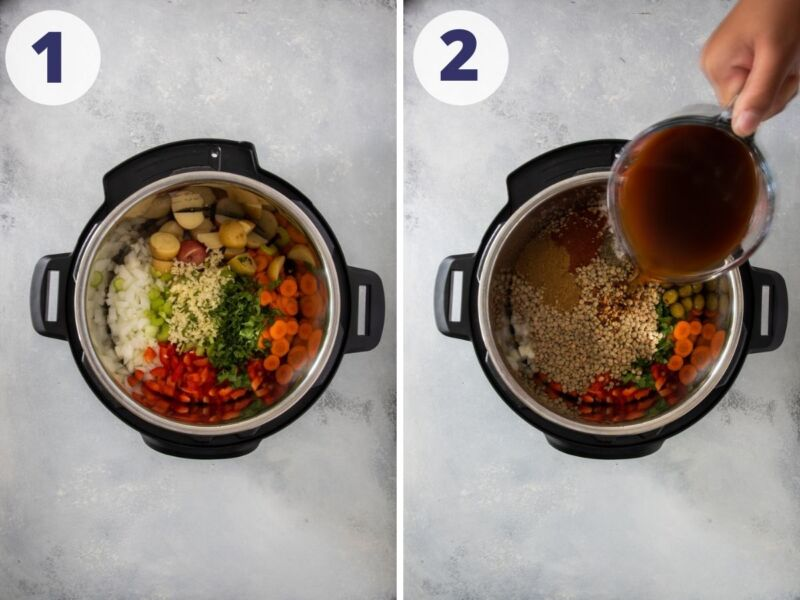 lentil stew in the slow cooker