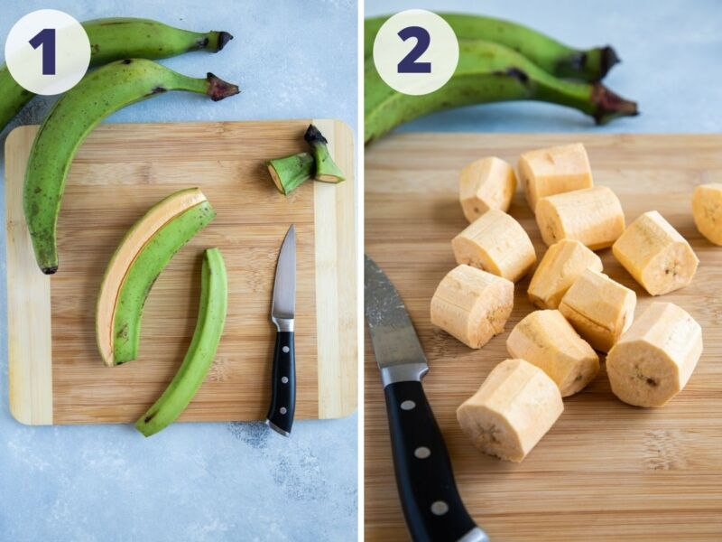two images showing the process of peeling and cutting the plantain