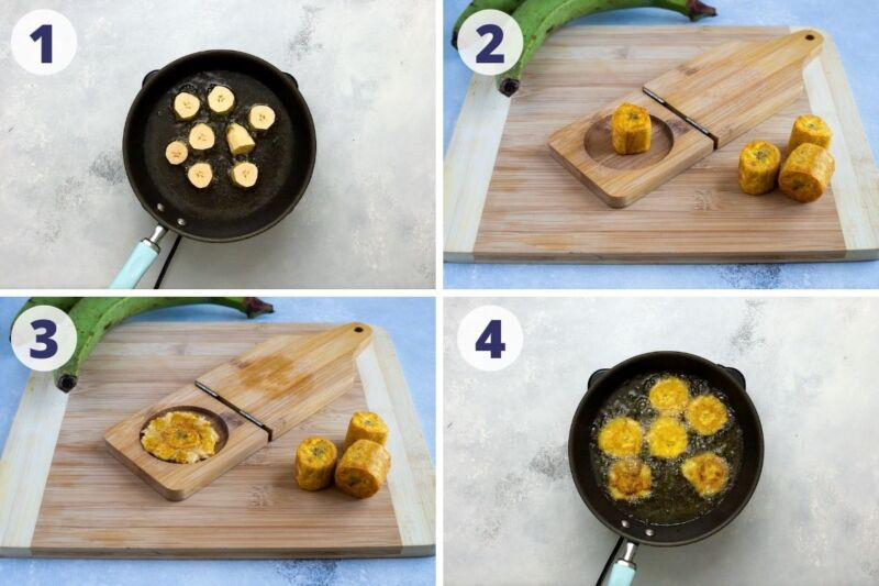 Four images pressing the plantain in the tostonera and frying