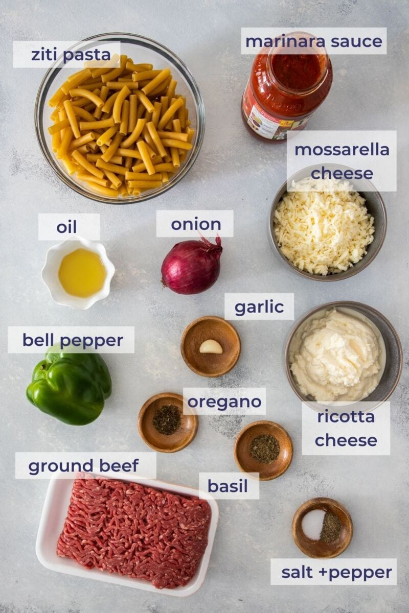 ricotta baked ziti ingredients