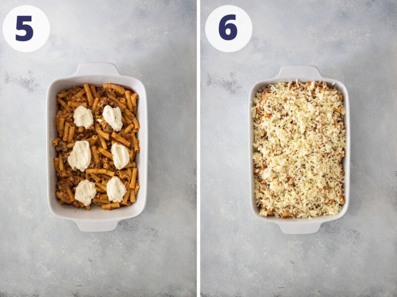 two images of pasta and ricotta cheese in a baking dish