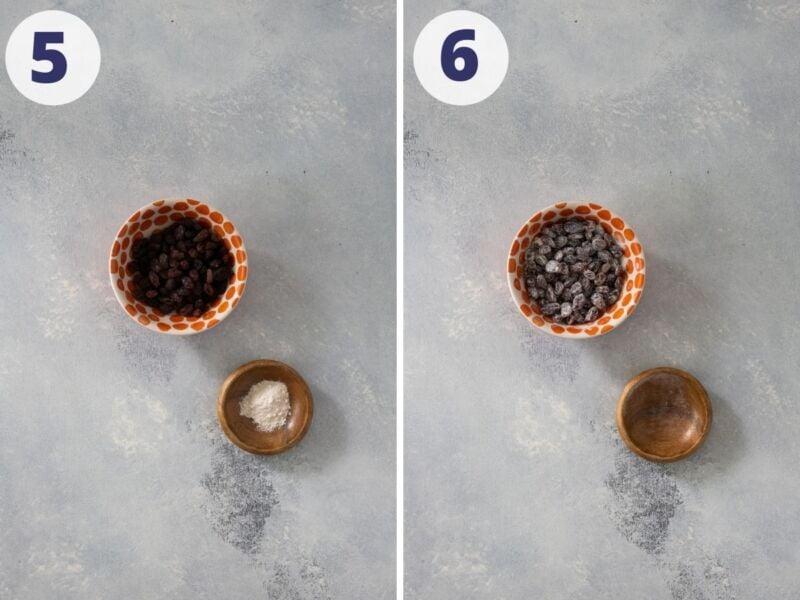 Raisins coated with flour.