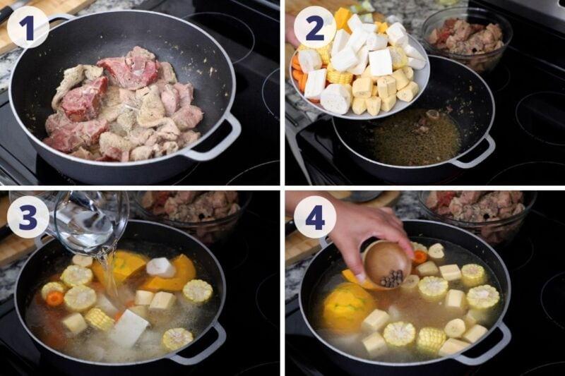 Four images of process preparing meat and vegetables for sancocho
