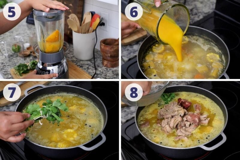 Four images showing process adding herbs and meat tot he sancocho broth
