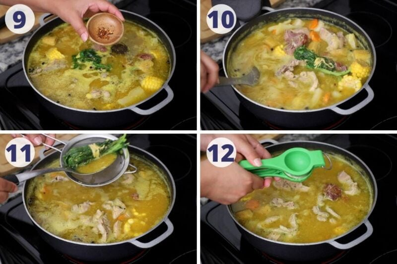 Four images of process seasoning the sancocho