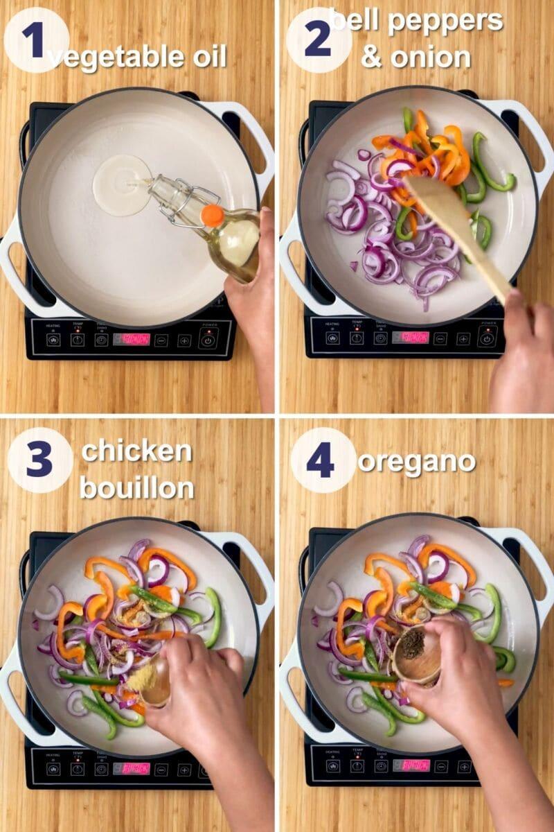 four process images preparing the vegetables